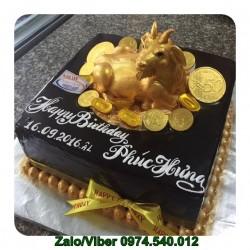 Bánh Sinh Nhật Con Ngựa Vàng Nhũ Sang Trọng - NA10