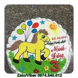 Bánh kem sữa tươi vẽ hình Con Ngựa Dễ Thương - NA08