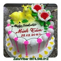 Mẫu bánh sinh nhật sữa tươi vắt con dê đẹp - DE05