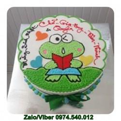 DV12 Mẫu bánh kem sinh nhật vẽ con ếch