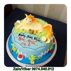 Bánh kem sinh nhật vắt hình con ngựa nổi 3D - NA12