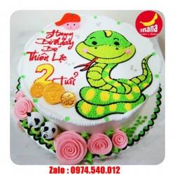 Mẫu bánh sinh nhật vẽ hình con rắn đẹp - RA05